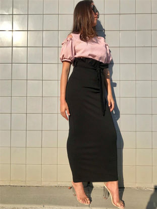 Picture of Women's A Line Skirt Solid Color Slim High Waist Skirt - Size: L