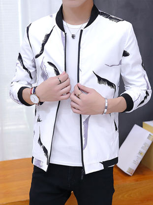 Picture of Men's Bomber Jacket Zipper Stand Collar Long Sleeve Jacket - Size: 3XL
