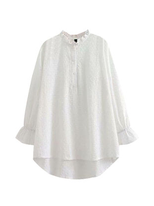 Picture of Women's Shirt Solid Color Falbala Long Sleeve Embroidery Fashion Top - Size: 4XL