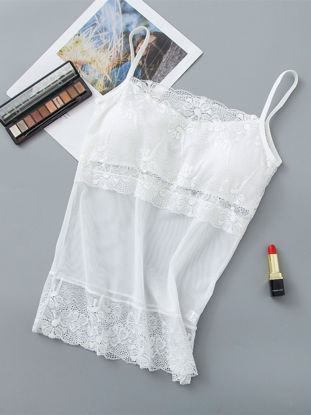 Picture of Women's 2 Pack Camisole Padded Lace Hollow Out Solid Color Camisole - Size: Free