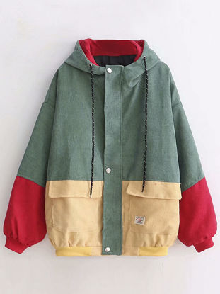 Picture of Women's Bomber Jacket Pockets Long Sleeve Hooded Coat - Size: Free