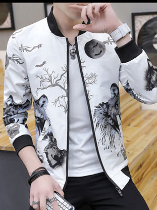 Picture of Men's Bomber Jacket Casual Long Sleeve Stand Collar Jacket - Size: XL