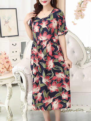 Picture of Women's Sleep Dress O Neck Short Sleeve Striped Floral Midi Home Dress - Size: Free