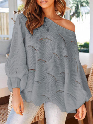 Picture of Women's Pullover Hollow Out Solid Color Long Sleeve Fashion Knitwear - Size: XXL