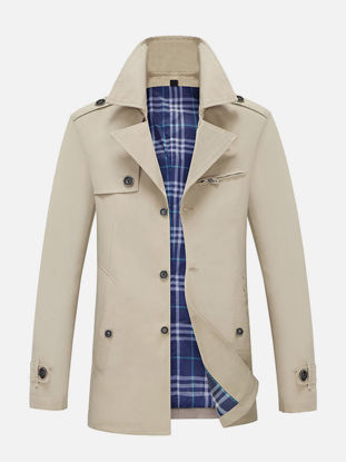 Picture of Men's Trench Coat Notched Collar Long Sleeve Button Outerwear - Size: L