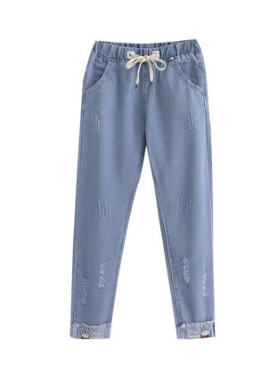 Picture of Women's Jeans Frayed Embroidery Cropped Denim Pants - Size: L