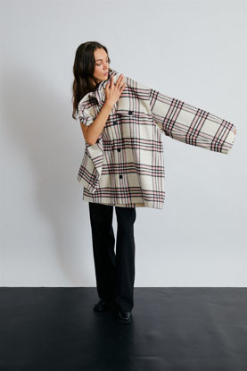 Picture of Pink-White Plaid Oversize Shirt Jacket