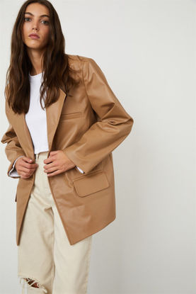 Picture of Faux Leather Oversized Blazer Camel