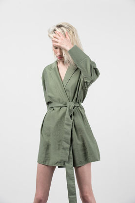 Picture of Envelope Dress With Waistband Khaki