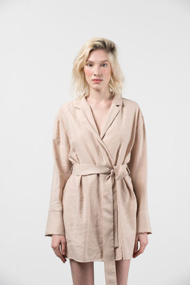 Picture of Envelope Dress With Waistband Beige