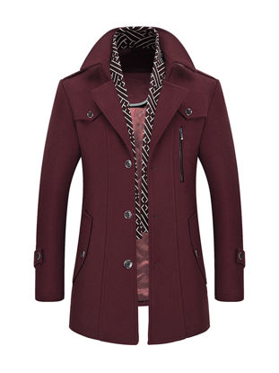 Picture of Men's Wool Blend Coat Buttons Design Notched Collar Warm Stylish Overcoat - Size: L