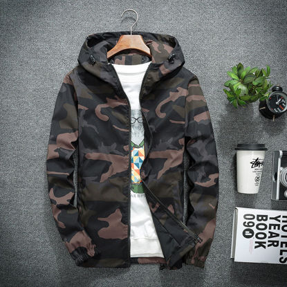 Picture of Men's Jacket Camouflage Pattern Wind Proof Hooded Collar Jacket - Size: 4XL