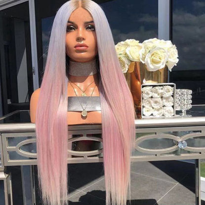 Picture of Women's Synthetic Hair Wig Contrast Color Long Straight Natural Fashion Wig - Size: One Size