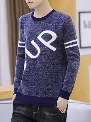Picture of Men's Pullover Sweater Words Long Sleeve O Neck Knitwear - Size: M