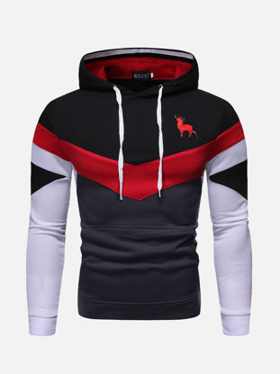 Picture of Men's Hoodie Fashion Animal Pattern Long Sleeve Casual Hoodie - Size: XL
