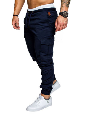 Picture of Men's Casual Pants Top Fashion Sports Style Elastic Waist Solid Color Pants - Size: M