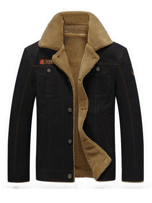 Picture of Men's Casual Jacket Thicken Warm Washing Color Style Turn Down Collar Jacket - Size: 3XL