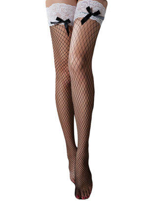 Picture of Women's Fancy Stockings Lace Patchwork Hollow Out Bow Decor Socks - Size: Free