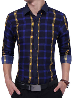 Picture of Men's Shirt Plaid Pattern Long Sleeve Color Block Casual Shirt - Size: M