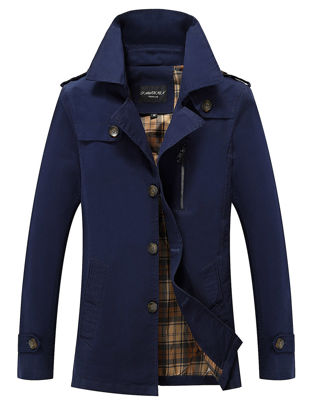 Picture of Men's Trench Coat Solid Color Long Sleeve Turn Down Collar Long Outwear - Size: XXL