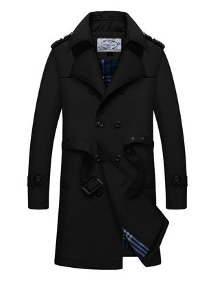 Picture of Men's Trench Coat Waistband Design Double Breasted Notched Neck Plus Size Trench Coat - Size: XL
