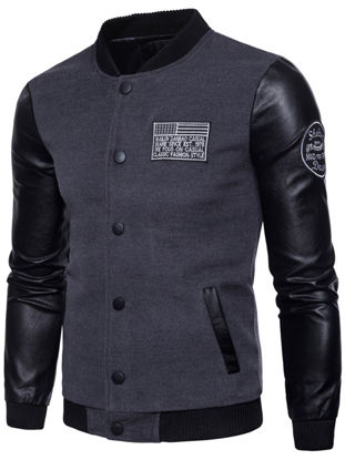 Picture of Men's Causal Jacket Patchwork Buttons Opening Outdoor Jacket - Size: 4XL
