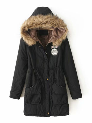 Picture of Women's Quilted Coat Long Sleeve Hooded Thicken Warm Winter Coat