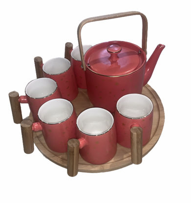 Picture of Teapot set with six cups and a wooden serving tray