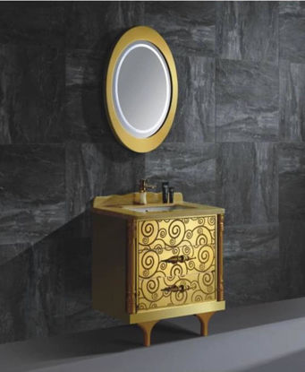 Picture of Country washbasin made of stainless steel with a lighted mirror