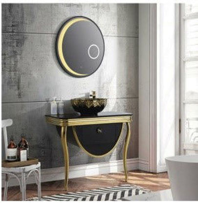 Picture of Country washbasin made of stainless steel with lighted mirror
