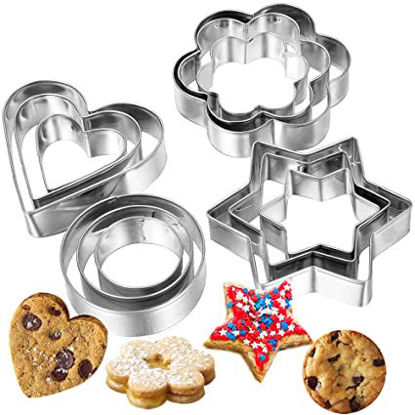 Picture of Curated Cart 12 Pieces Cookie Cutter Set | 4 Different Shapes, 3 Sizes, Stainless Steel Metal Molds | Shape Cutters for Kitchen, Baking, Diwali & Christmas Small Size Cookie Cutters